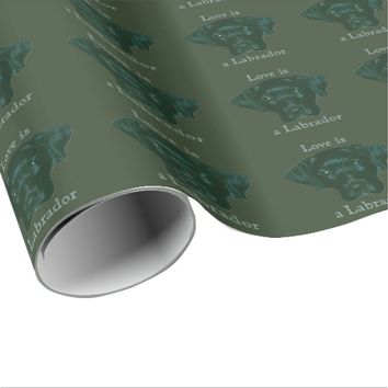 Love is a Labrador Black Retriever Face Wrapping Paper