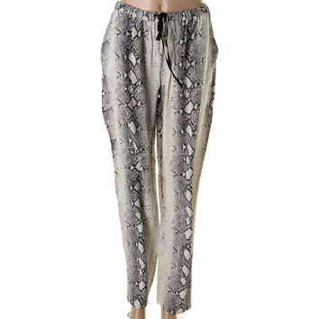 Acrobat Womens Silk Snake Print Casual Pants