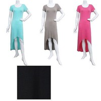 Sexy Solid Colors Jersey Knit Short Sleeve Hi-Low Hem Maxi Long Summer Dress