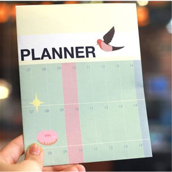 Half Year Planner Notebook Big Size Learning Working Plan Table For Kids School Supplies Korean Stationery 341