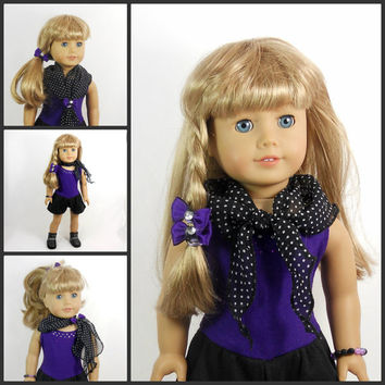 "18"" Doll Romper in Purple and Black Includes scarf, hair bows, bracelet"