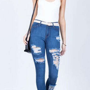 Blue Shredded Stretchy Destroyed Skinny High Waisted Long Jeans