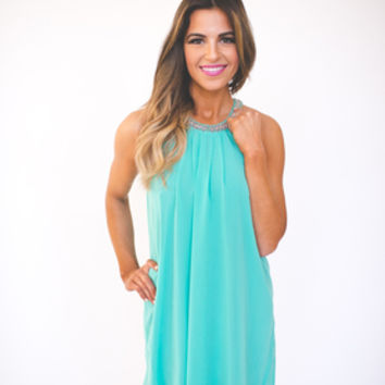 Mint Jeweled Shift Dress