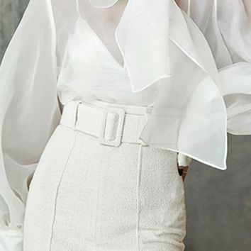 Modern Mademoiselle Sheer Long Lantern Sleeve High Neck Large Bow Blouse Top - 2 Colors Available