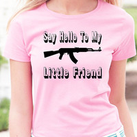 Say Hello To My Little Friend T-Shirt - Great gun lovers shirt with famous quote from the movie Scareface.