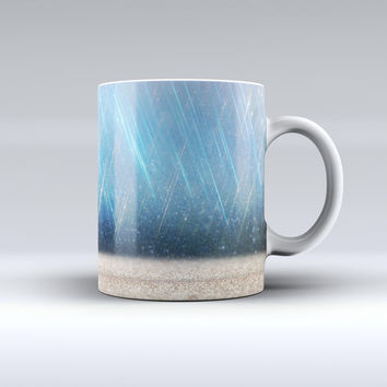 The Strachted Blue and Gold ink-Fuzed Ceramic Coffee Mug