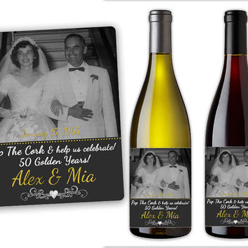 50th Anniversary Party Favors - Wine Bottle Labels - Mini Champagne Bottle Labels - 50th Anniversary Decorations - Photo Vow Renewal Favors