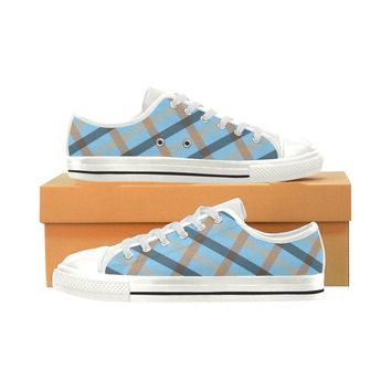 Women's Black & Blue Check Canvas Shoes