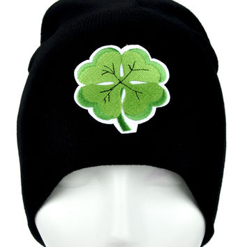 Lucky Irish Four Leaf Clover Beanie Alternative Clothing Knit Cap St. Patricks Day