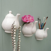 Porcelain Teapot Wall Vase And Hook