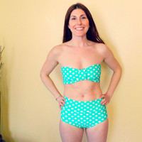 the Katy Taylor bikini set retro high Waist Polka dot swim bottoms bow bandeau top