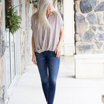Heathered Pink Cutout Top