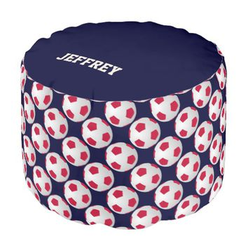 Personalized Red White Blue Soccer Ball Pouf