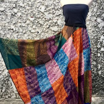 Gypsy Multicolor Maxi Skirt Festival Hippie Patchwork Fashion Boho Bohemian clothing tribal Vegan style One of kind Eco friendly gift Women