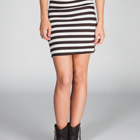 Lily White Striped Bodycon Skirt Black/White  In Sizes