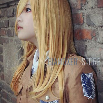 Cool Attack on Titan Biamoxer  Krista Lenz Christa Cosplay Wigs Short Blonde  Renz Heat Resistant Cosplay Costume Wig AT_90_11