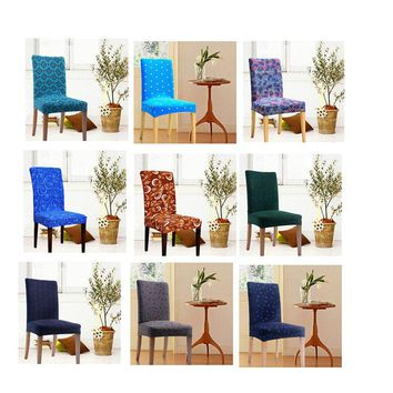 Elegant Chair Cover Home Wedding Dining Decoration Printed Dining Spandex Chair Slipcover