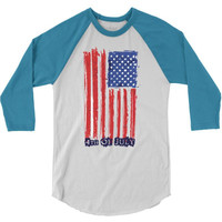 4th of july flag 3/4 Sleeve Shirt