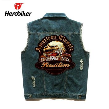 Trendy HEROBIKER Motorcycle Vest Men Locomotive Retro Vintage Flashing Denim Vest Motorsiklet Hip Hop Badge Safety Jacket Moto Vests AT_94_13