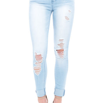 DISTRESSED HIGH RISE CUFFED BLEACHED SKINNY JEAN