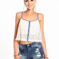 Chambray Crochet Cropped Top