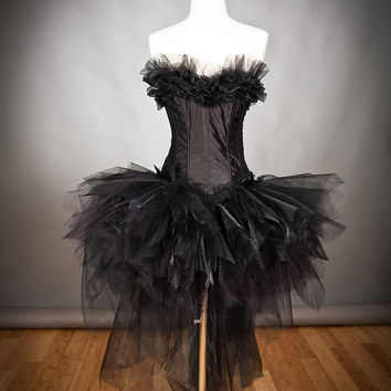 Size Small Burlesque black tulle Angel white swan Cosume with full feather wings Ready To Ship