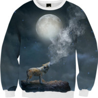 The Light of Starry Dreams (Wolf Moon) Unisex FALL Sweatshirt created by soaringanchordesigns | Print All Over Me