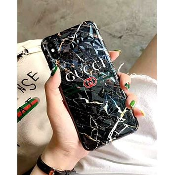GUCCI 2019 new marble iPhoneXS MAX mobile phone case cover black