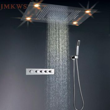JMKWS LED Big Shower Head Set Thermostat Rain Curtain Showerhead Light Sprayer Waterfall Faucet Bathroom Fixtures Modern Ceiling