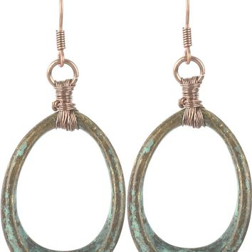 Brown Aged Finish Metal Oval Ring Earring