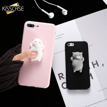 KISSCASE Squishy Cat Soft Phone Case for iPhone 5s SE 6 6s Cute Case for iPhone 8 7 6s 8 plus 3D Doll Phone Accessories Capa NEW