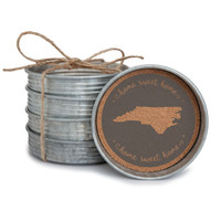 "Set of four ""Home Sweet Home"" North Carolina metal coasters."