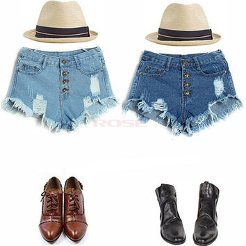 Summer Feminino Cool Hole Denim Shorts Women's Short Jeans Pants High Waitst Vintage Button fly Hot Pants SV002567 = 1745554308