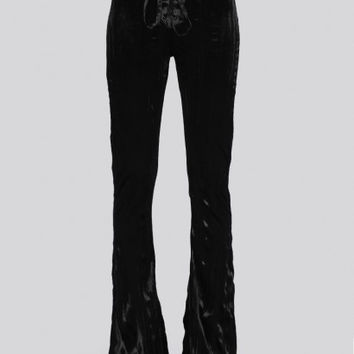 Black Crushed Velvet Bell Bottom Pants (Lip Service Cult)