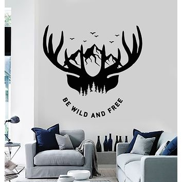 Vinyl Wall Decal Be Wild And Free Deer Hunt Mountain Man Cave Stickers Mural (g630)