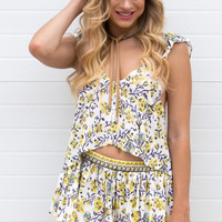 Costa Mesa Floral Ruffle Top- Yellow
