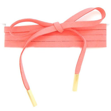 Thick Faux Suede Wrap Around Choker Pole Necklace - Apricot