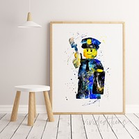 Lego Policeman Watercolor Art Print