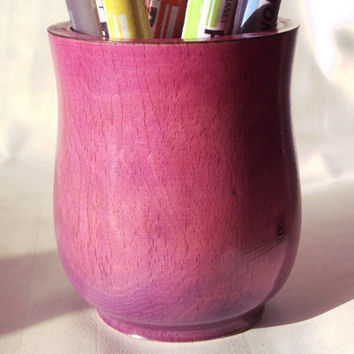 Wood Pencil Pot, Turned Wood, Pink and Purple, Wood Pencil Holder, Desk Tidy, Wood Desk Accessories, Desk Organiser, Wood Pen Holder, Wooden