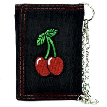 ac spbest Sexy Rockabilly Cherries Tri-fold Wallet w/ Chain Tattoo Clothing