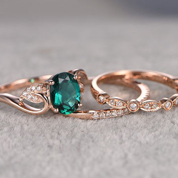 3pcs Emerald Engagement ring Set!14k rose gold,Diamond wedding band,6x8mm Oval Cut,Bridal Ring,Retro Vintage Floral,Lab-Treated Green stone