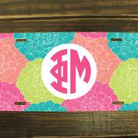 Personalized Greek License Plate with Preppy Pattern