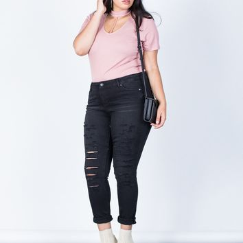 Plus Size The Slashed Skinny Jeans