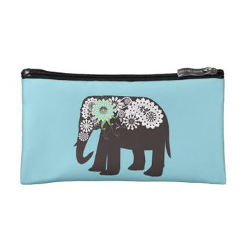 Paisley Elephant Small Bags for Make Up: Cute Cosmetic Purse Gift for Her: More Sizes Available