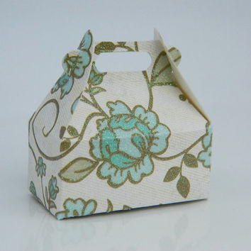 Jewelry Gift Wrap Box - Box for Rings - Flowers, White, Ivory, Green, Brown, Wedding, Beige, Grey, Romantic, Favor, Texture, Mini Box, Cute