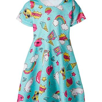 Unicorn Children Dress Kids Food Ice Cream Doughnut Rainbow Cartoon Funny Pattern Dresses For Girls Teens Party Street Clothes