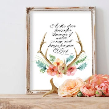 Deer Bible Verse Psalm 42 Deer Prints Modern Christian Art Christian Prints Psalms Print Deer Antler Verse Floral Print Bible Verse Art