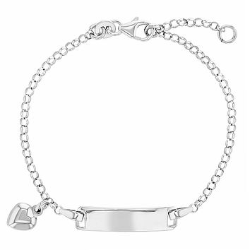 """925 Sterling Silver Heart Charm Tag Identification Bracelet for Young Girls 5.5"""""""