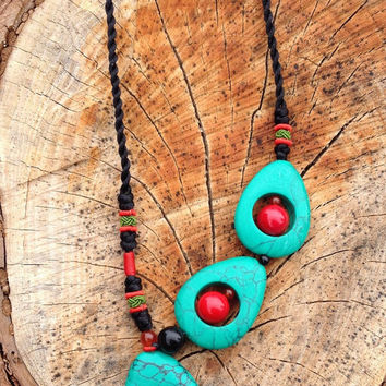 Turquoise and Coral Asymmetrical Statement Necklace, Turquoise Necklace, Asymmetrical Necklace