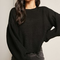 Billowy Purl-Knit Sweater